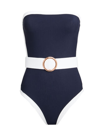 Whitney Strapless One Piece Swimsuit, NAVY/WHITE, hi-res