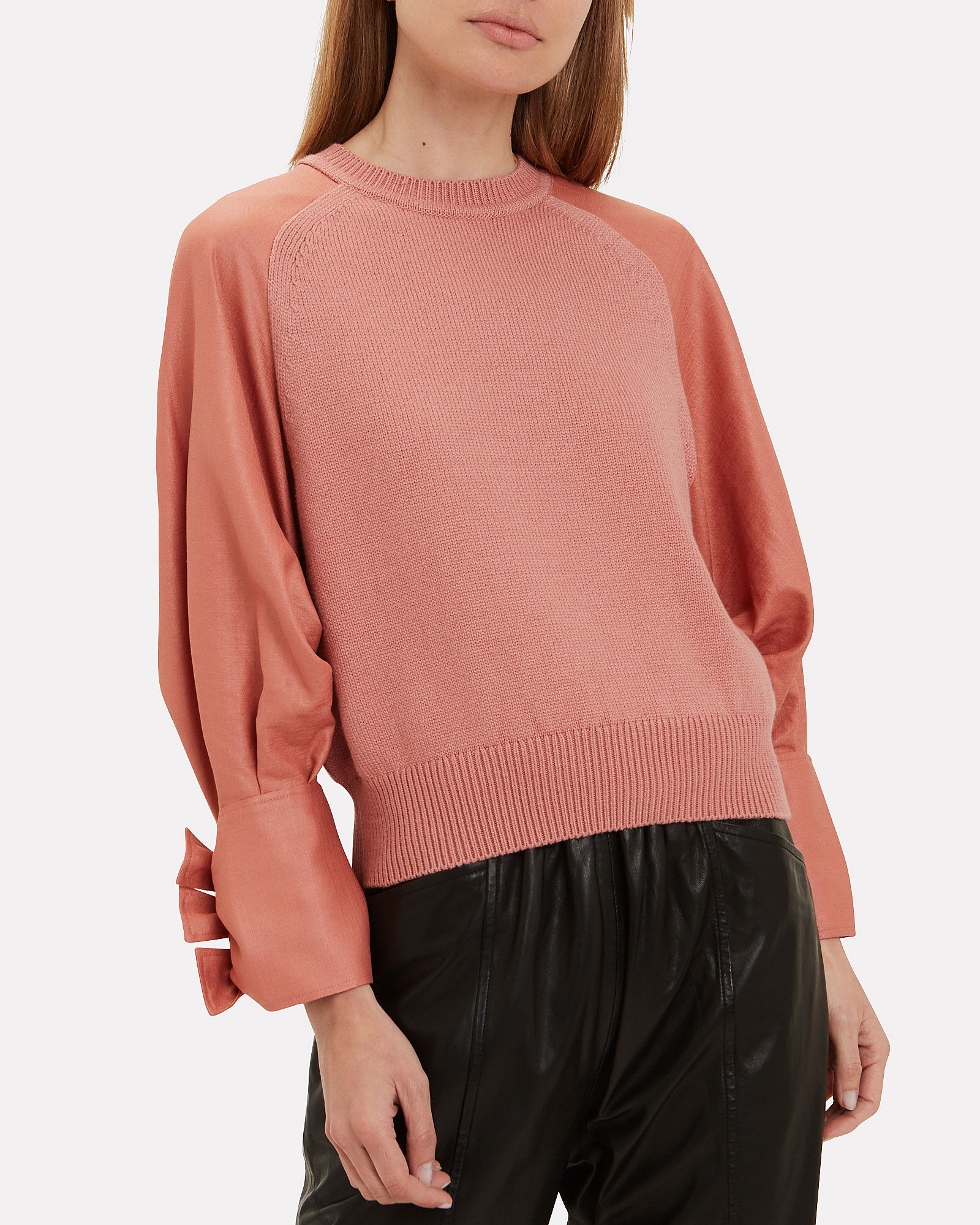 Satin Sleeve Sweater, PINK, hi-res