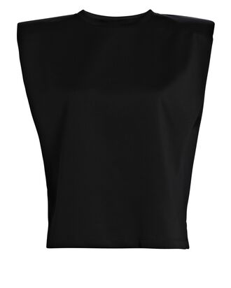 Padded Shoulder Muscle T-Shirt, BLACK, hi-res
