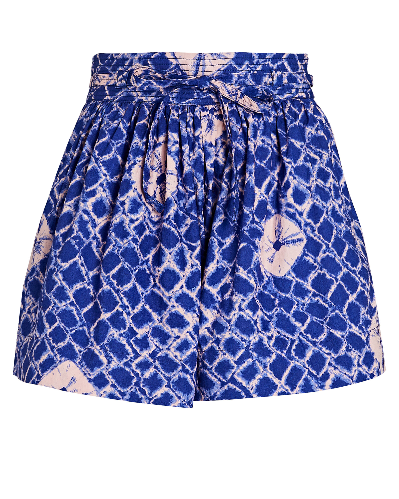 Willow Tie-Waist Cotton Shorts, BLUE/PINK, hi-res