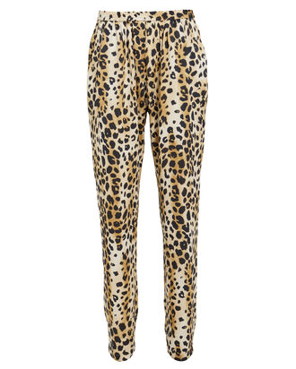 Amra Crepe Leopard Pants, BROWN, hi-res