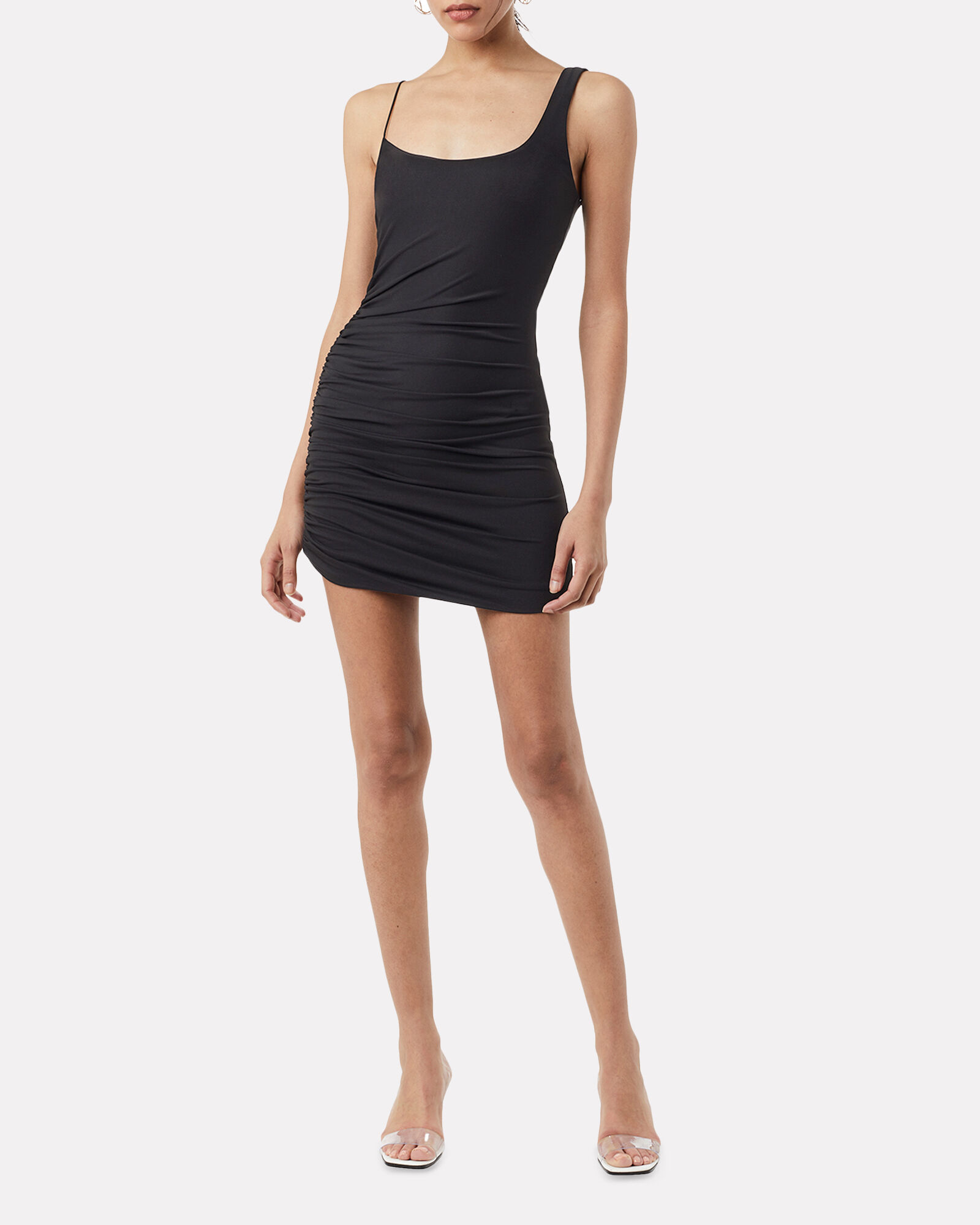 Emmons Ruched Mini Dress, BLACK, hi-res