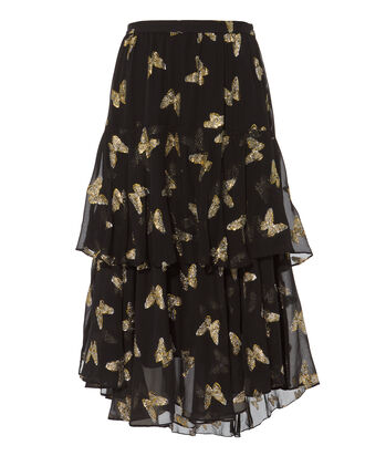 Alex Lurex Butterfly Midi Skirt, BLACK, hi-res