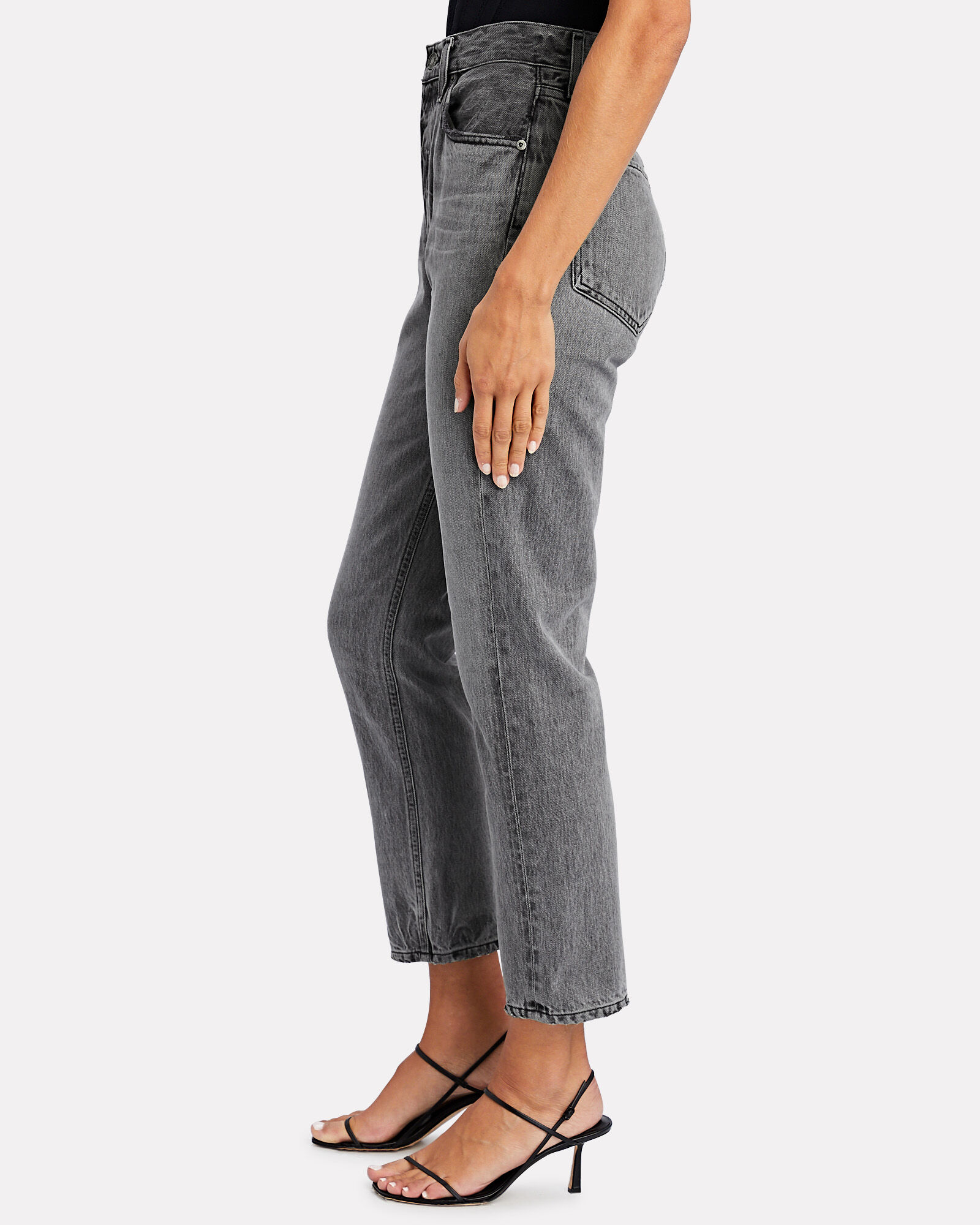 Riley High-Rise Straight Cropped Jeans, GREY, hi-res