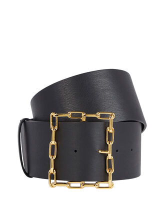 Geo Chain Buckle Leather Belt, BLACK, hi-res