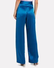 Silk Charmeuse Wide Leg Trousers, COBALT, hi-res