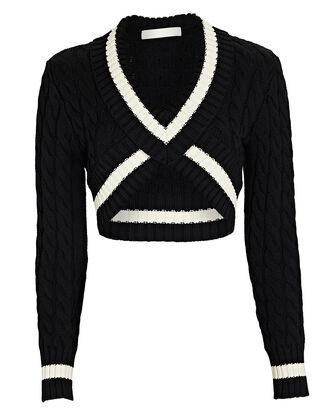 Cropped Cable Knit Varsity Sweater, BLACK, hi-res
