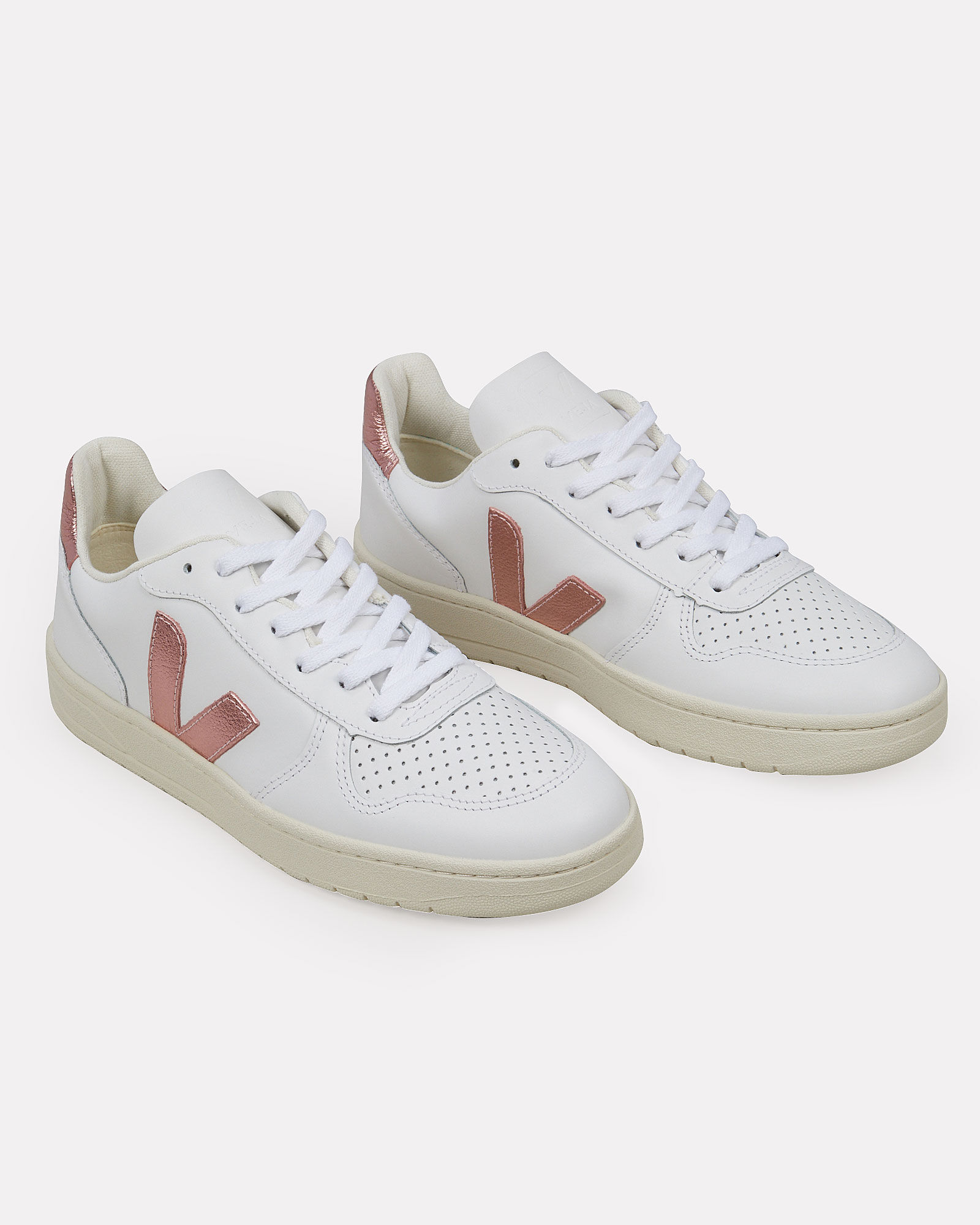 V-10 Low Top Sneakers, WHITE/PINK, hi-res