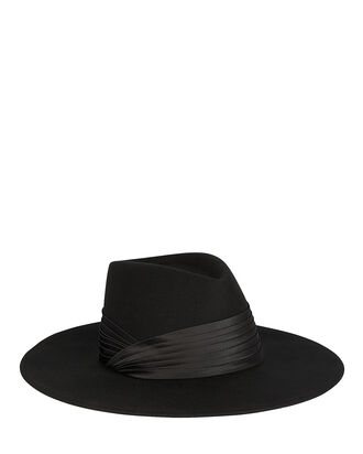 Harlowe Wool Fedora, BLACK, hi-res