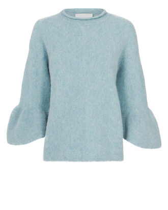 Ruffle Sleeve Sweater, BLUE, hi-res