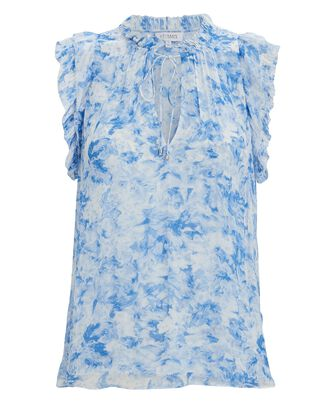 Lolly Printed Sleeveless Chiffon Blouse, BLUE/WHITE, hi-res