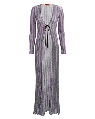 Purple Striped Lurex Duster, PURPLE/SILVER, hi-res