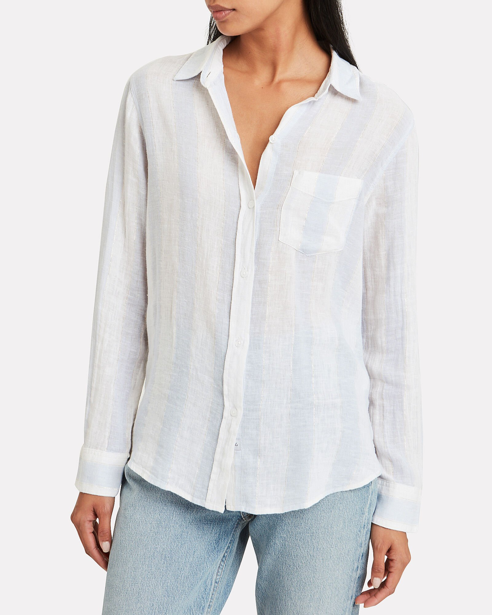 Charli Plaid Button Front Shirt, BLUE/STRIPE, hi-res