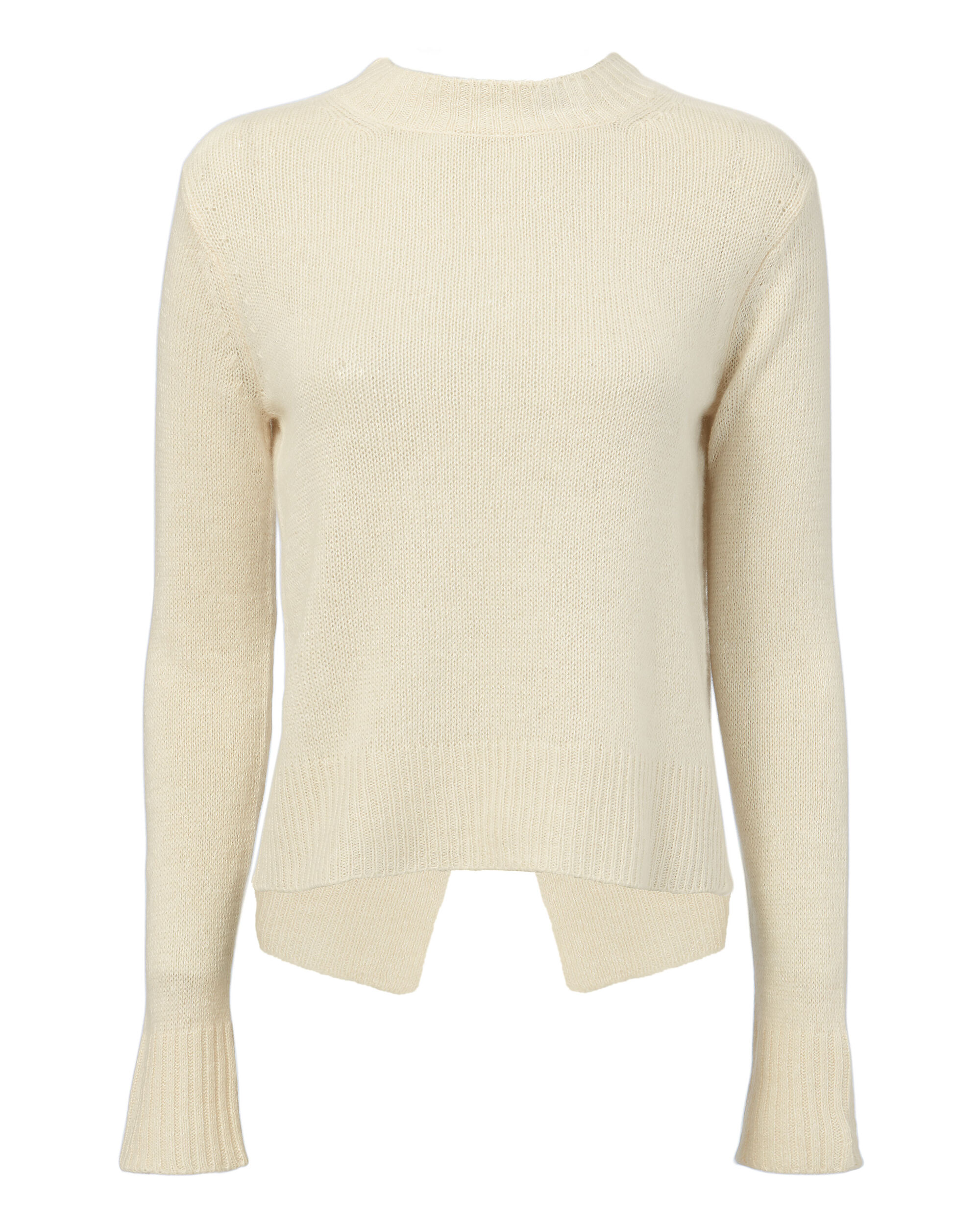 Ring-Detailed Open Back Sweater, IVORY, hi-res