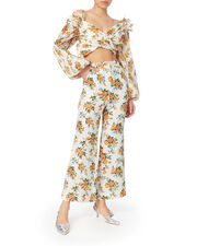 Golden Floral Crop Flare Pants, YELLOW, hi-res