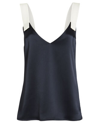 Jones Contrast Strap Satin Camisole, NAVY, hi-res