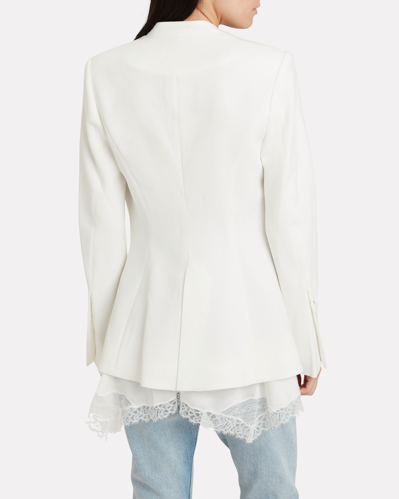 Basque Crepe Lace-Trimmed Blazer, WHITE, hi-res