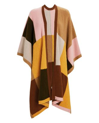 Hunter Colorblock Cashmere Poncho, BEIGE/PINK/YELLOW, hi-res
