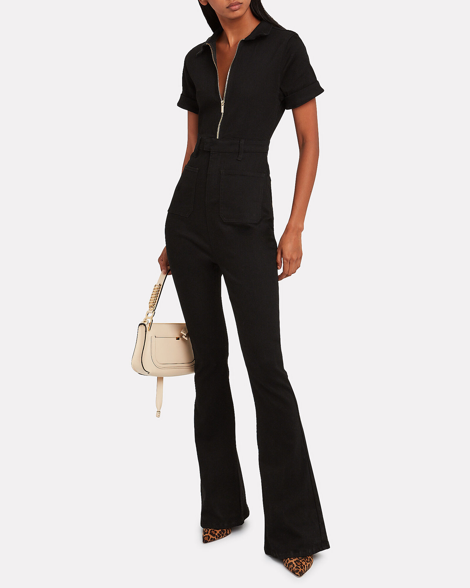 The Denim Wide Leg Jumpsuit, BLACK, hi-res