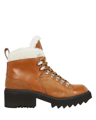 Bella Shearling-Lined Combat Booties, CAMEL/IVORY, hi-res