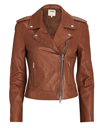 Leather Moto Jacket, BROWN, hi-res