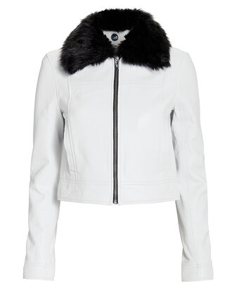 Lincoln Faux Fur Collar Jacket, WHITE, hi-res