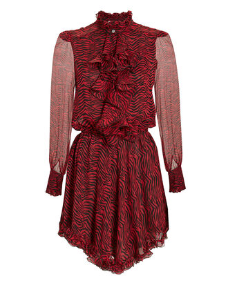 Victorian Red Zebra Print Dress, RED, hi-res