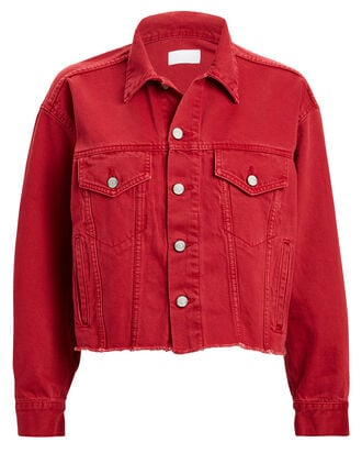 The Harvey Raw-Edge Denim Jacket, RED, hi-res