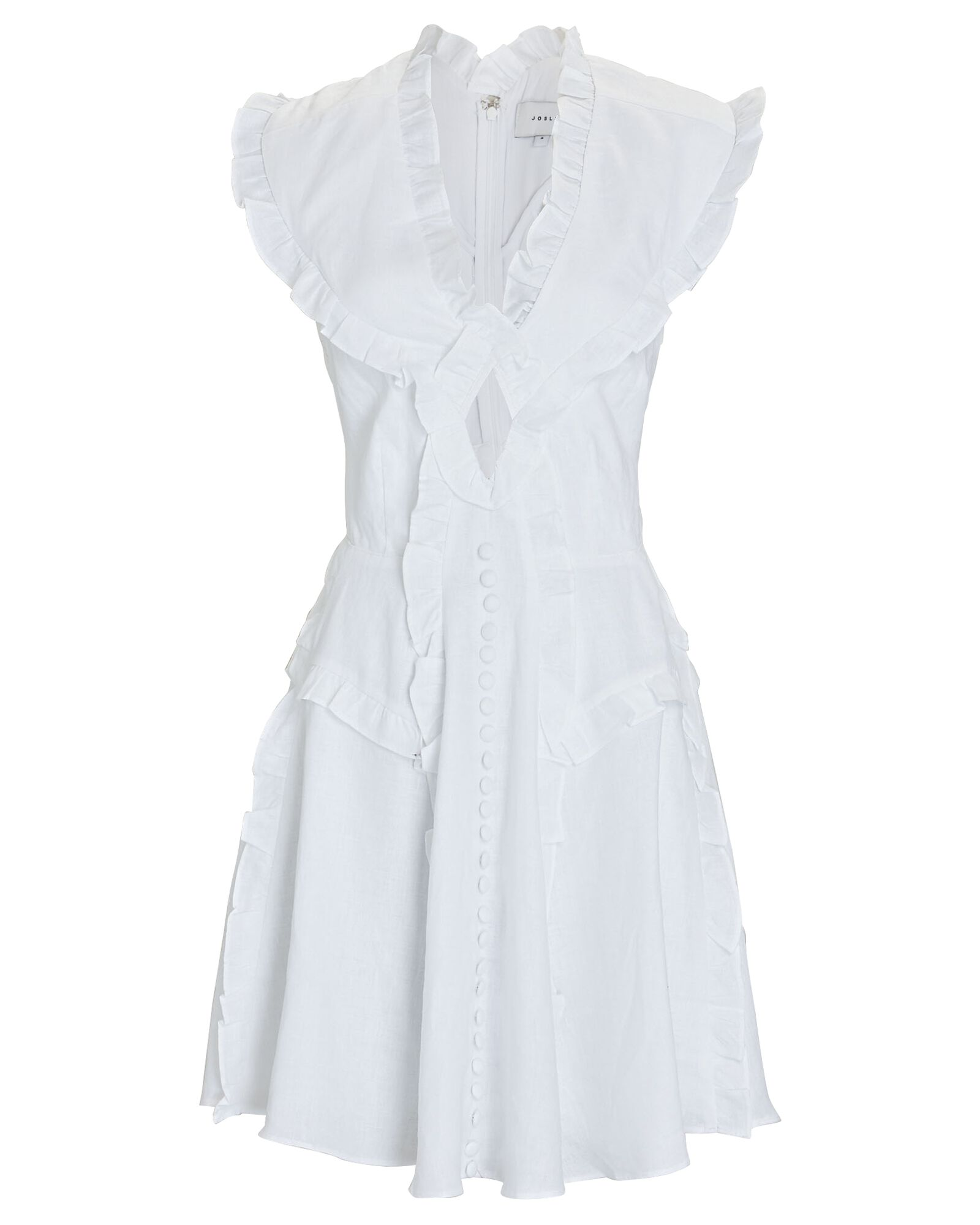 Kayla Ruffled Linen Mini Dress, WHITE, hi-res