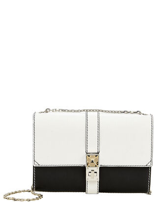 PS11 Colorblock Chain Clutch, BLK/WHT, hi-res