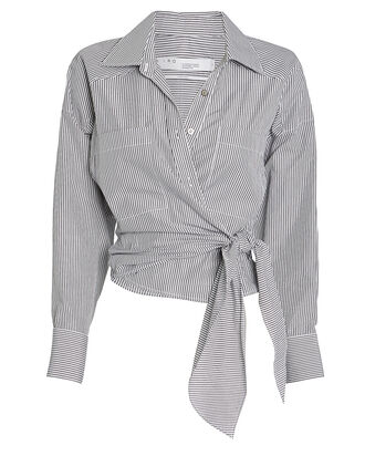 Kensing Striped Tie-Front Button Down, BLUE/WHITE STRIPE, hi-res