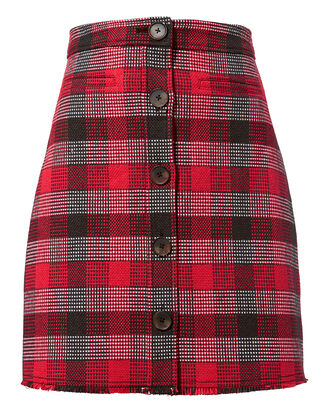 Plaid Mini Skirt, RED, hi-res