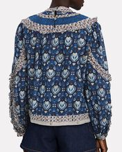 Brigitte Printed Cotton Blouse, NAVY, hi-res