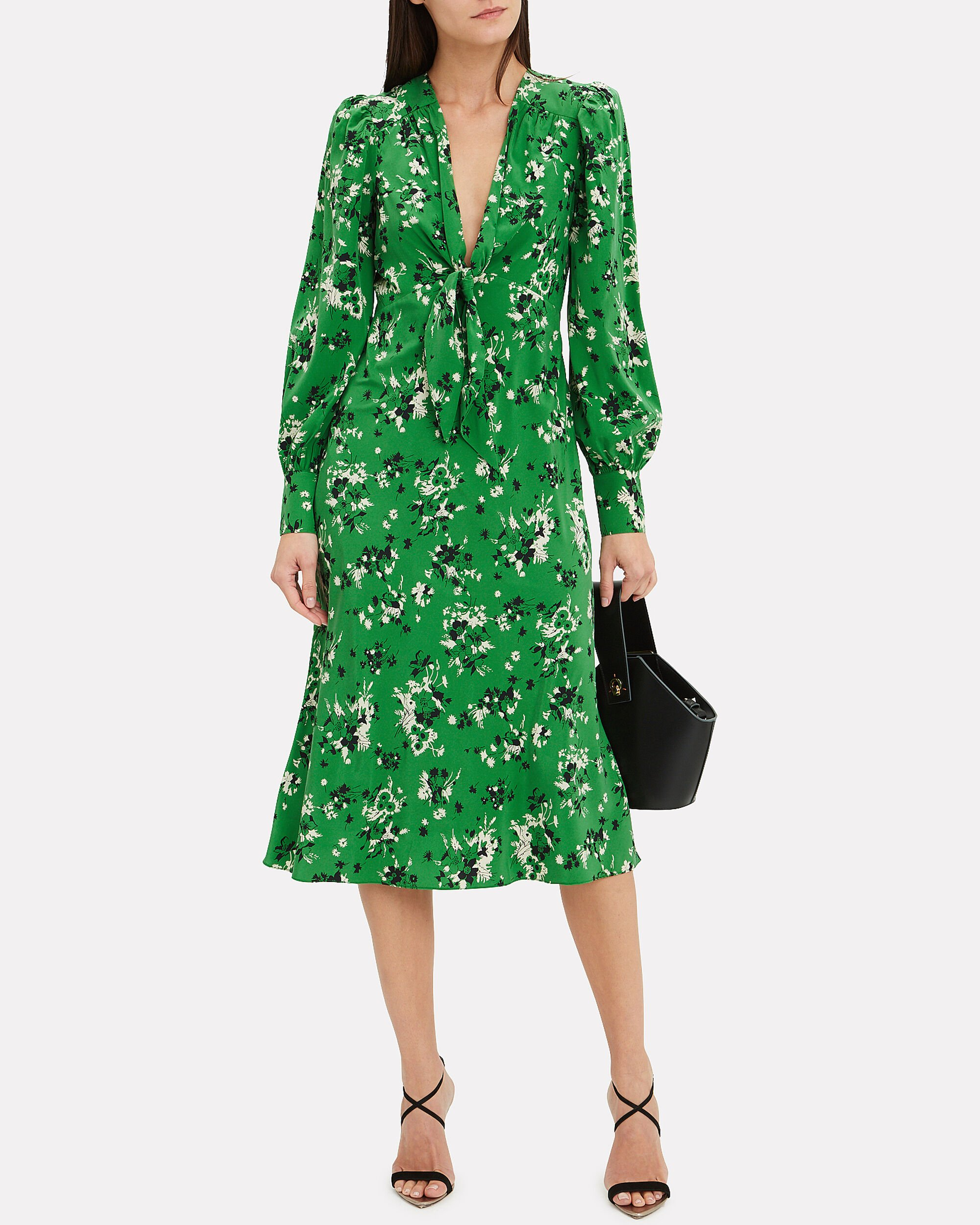 Amber Floral Midi Dress, GREEN/FLORAL, hi-res