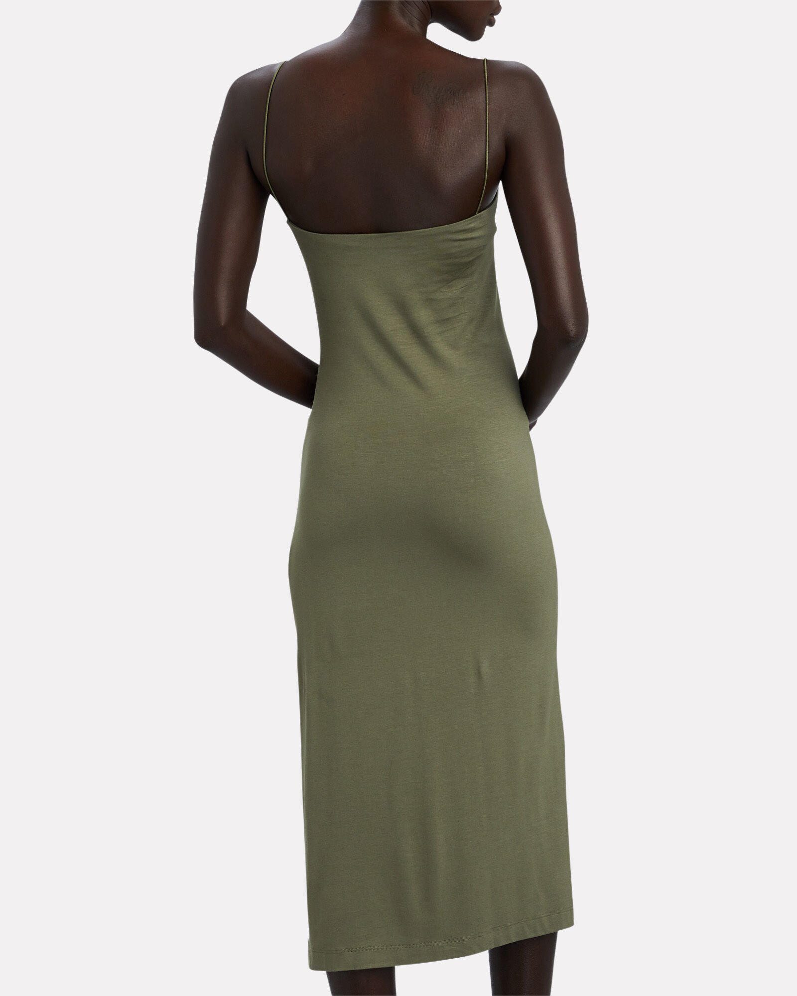Strappy Jersey Slip Dress, OLIVE, hi-res