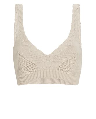 Elsa Cable Knit Bralette Top, BEIGE, hi-res