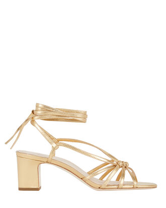 Libby Knotted Leather Sandals, GOLD, hi-res