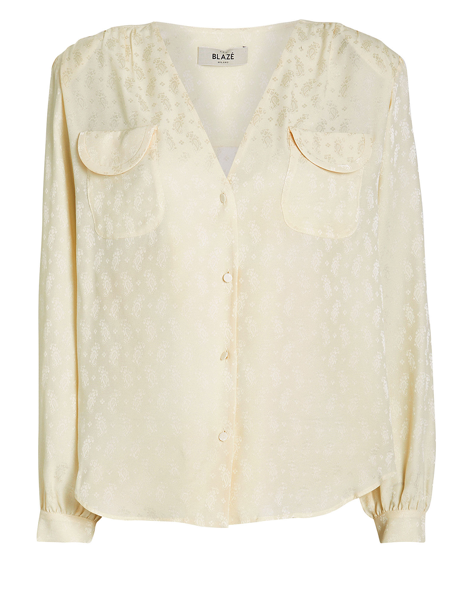Andalusian Silk Button Down Blouse, IVORY, hi-res