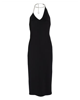 Crystal-Embellished Halter Midi Dress, BLACK, hi-res