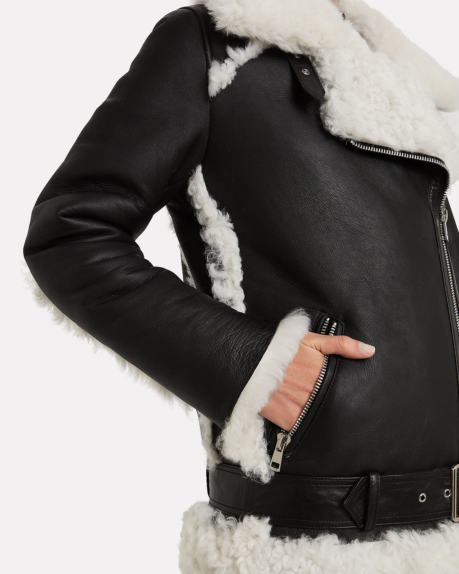 Shearling-Trimmed Moto Jacket, BLACK, hi-res