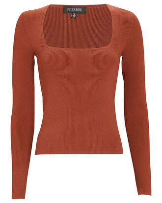 Kai Long Sleeve Rib Knit Top, BROWN, hi-res