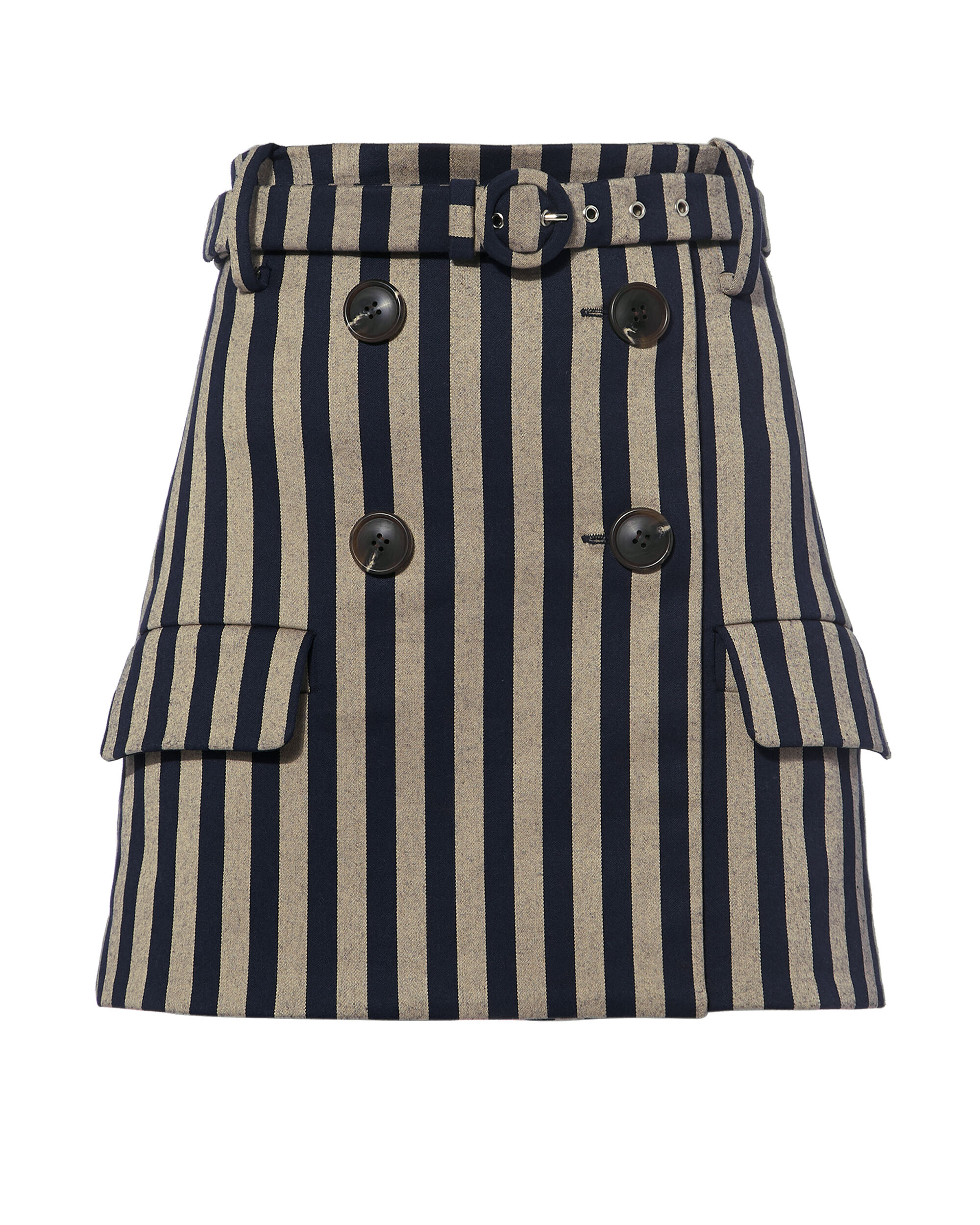 Striped Double Breasted Skirt, NAVY, hi-res