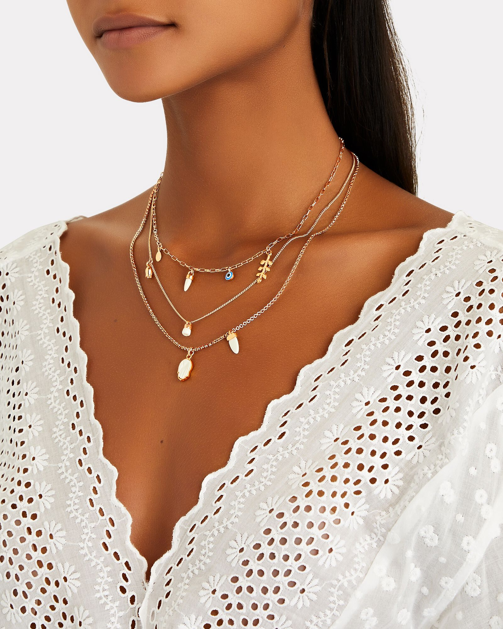 Layered Charm Necklace, IVORY, hi-res