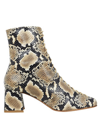 Becca Python-Print Leather Booties, BEIGE/PYTHON PRINT, hi-res