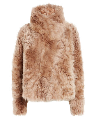 Reversible Shearling Cropped Coat, BROWN, hi-res