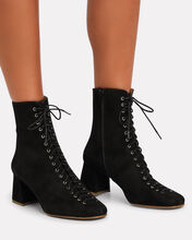 Becca Lace-Up Suede Booties, BLACK, hi-res