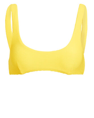 Yellow Rib Scoop Neck Bikini Top, YELLOW, hi-res