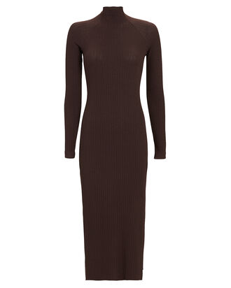 Rib Knit Midi Dress, BROWN, hi-res