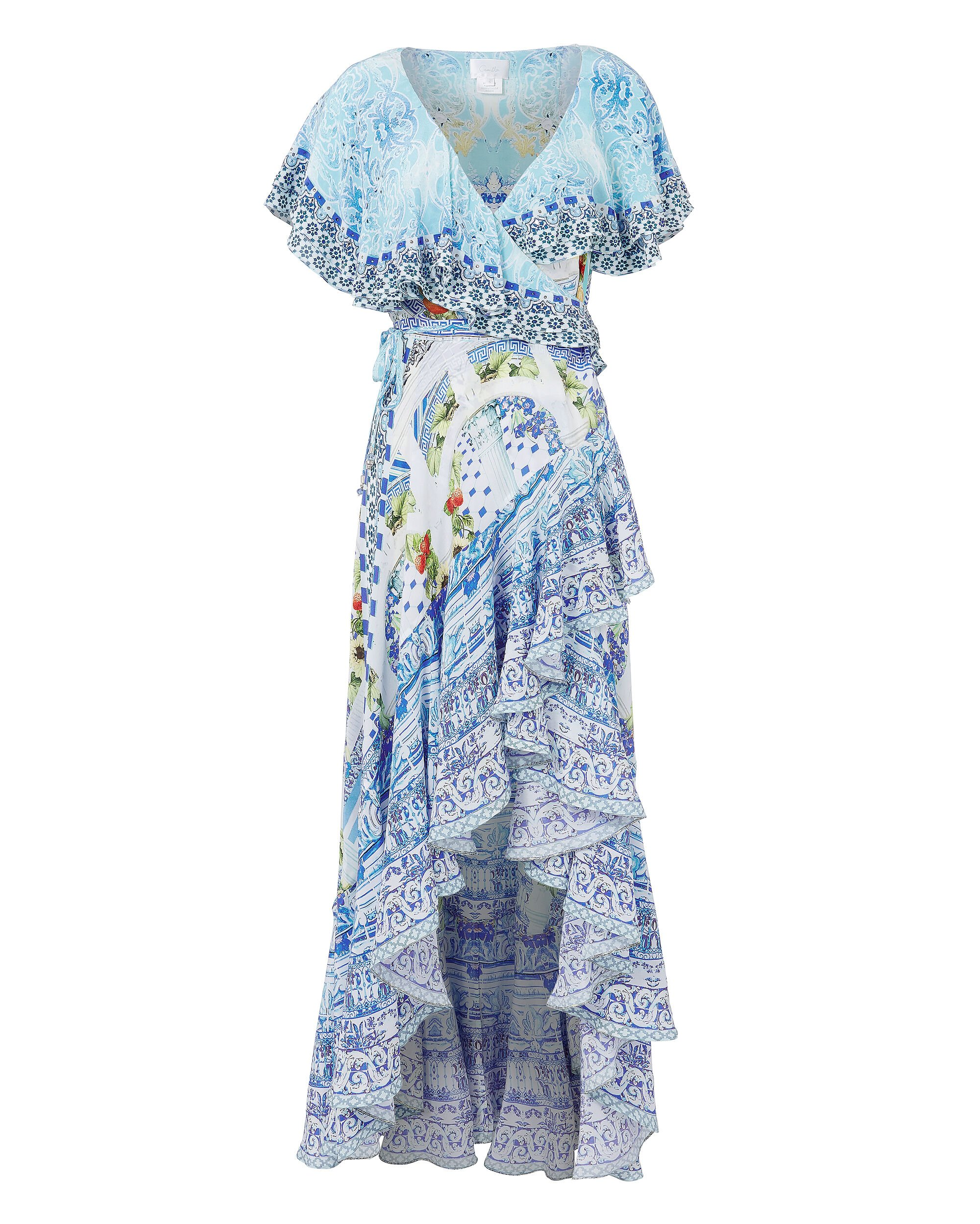 A Night To Remember Frill Wrap Dress, PRINT, hi-res