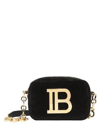 B Camera Velvet Crossbody Bag, BLACK, hi-res